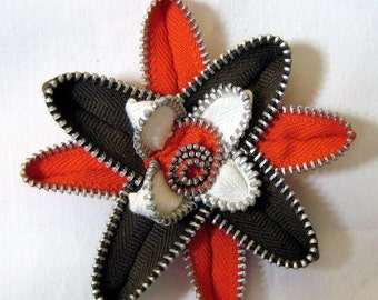 Hair Clip or Brooch Brown, Orange & White Cleveland Browns