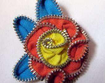 Zipper Flower Pin Turquoise Orange and Yellow Hand-sewn Repurposed