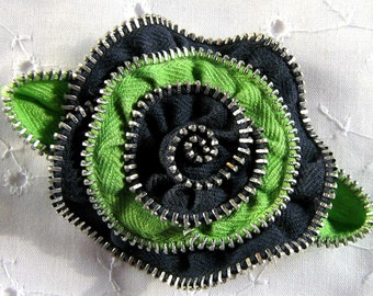 Brooch or Hair Clip Zipper Flower Navy and Lime