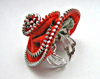 Red Zipper Ring Adjustable Silver Filigree