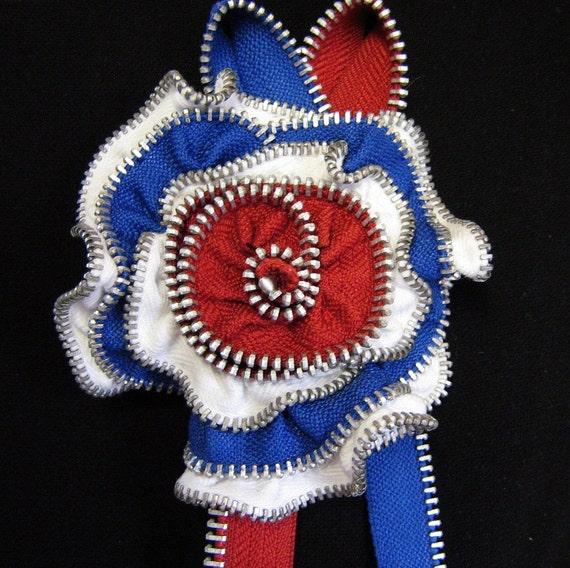 Red White & Blue Brooch  Zipper Flower  Zipper Pin Repurposed Zippers