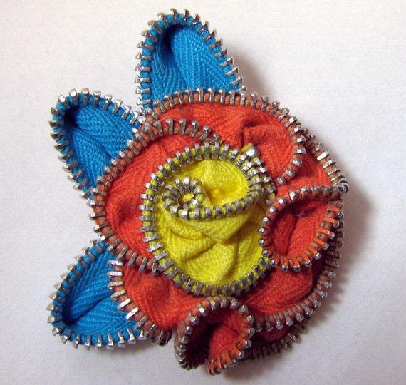 Zipper Flower Pin Turquoise Orange and Yellow Hand-sewn Repurposed