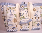 Diaper Bag with Bees, Lavender and Honey Country Story Time Tote Bag for Travel, Garden, Craft, or Knitting