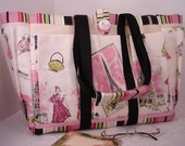 Tres Chic Paris Travel, Garden, Craft, Baby Diaper or Knitting Bag for Travel or Home