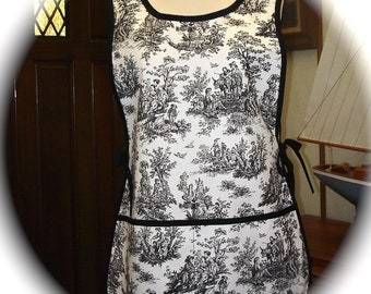 Apron Full  in Black and White Country Rustic Toile for all your Fun Crafting, Gardening and Cooking  Adventures