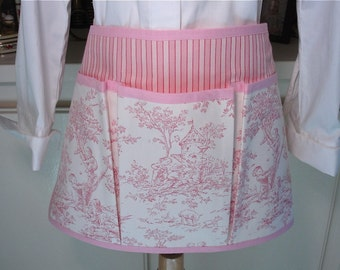 Central Park Pink Toile Half Apron for Garden, Crafting, Vendor, Mothering  or Cooking