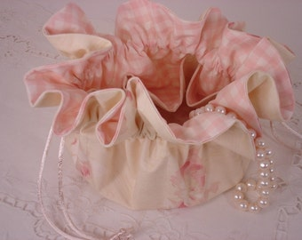 Shabby Chic Cottage Rose Jewelry Pouch for Travel or Home Use