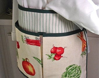 Country Garden of Fresh Vegetables Garden, Craft, Boutique or Cooking Half Apron