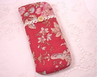 Shabby Chic Country Roads Rose Eyeglass , Sunglass, or Gadget Holder Carrier