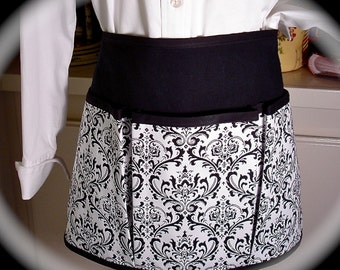 Black and White Damask Craft Apron for all your Fun Garden, Crafting, Vendor or Cooking Adventures