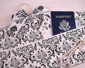 Black and White Damask Travel Hanger Closet Safe for Travel or Home