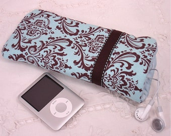 Turquoise and Brown Damask and Dot Eyeglass, Sunglass, or Gadget Holder