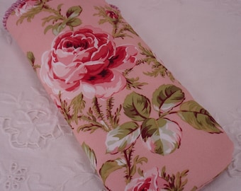 Shabby Chic Rose Eyeglass, Sunglass, iPod or Gadget Holder in Pink