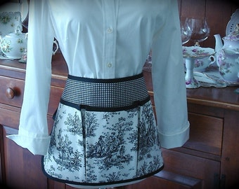 Apron Black and White Toile Craft Apron for all your Fun Garden, Crafting, Vendor or Cooking Adventures