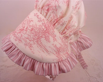 Central Park Toile Child's Sun Bonnet in Pink and Cream : Made to Order