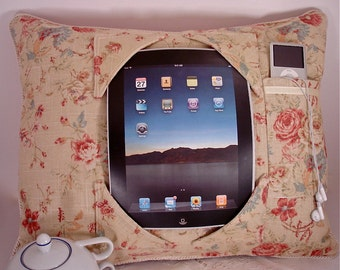 Shabby Chic iPad Pillow to craddle your iPad - Cotton Linen