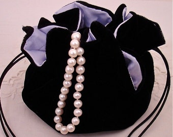 Black Velvet Jewelry Pouch for Travel or Home Use