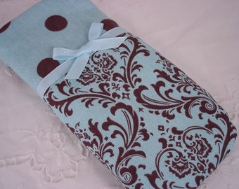 Eyeglass, sunglass, or gadget Holder in Turquoise and Brown Damask and Dots