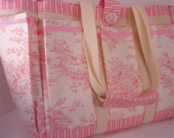 Central Park Country Toile Pink and Cream with Candy Stripe Mother and Baby Tote for Travel, Knitting or Craft Projects