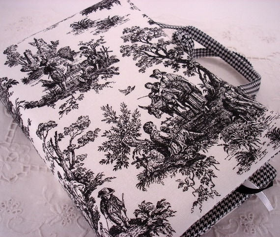 Black and White Country Rustic Toile Bible or Hardbound and Softbound Book Cover, Small