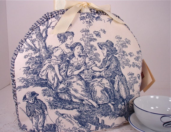 Reserved for Nathalie - French Country Rustic Toile  Insulated Tea Cozy in Blue and Cream