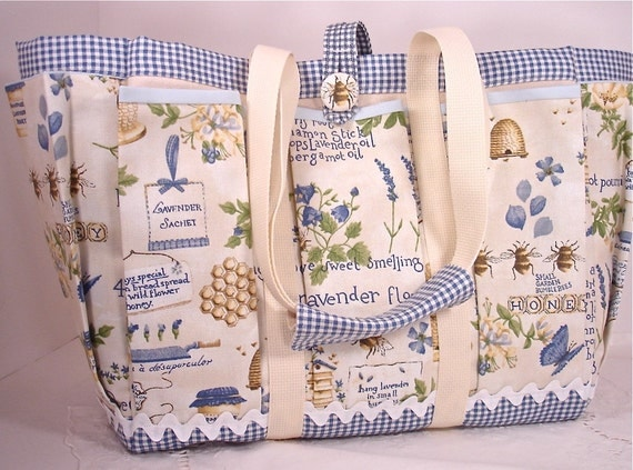Bees, Lavender and Honey Mother and Baby Country Story Time Tote Bag for Travel, Garden, Craft, or Knitting