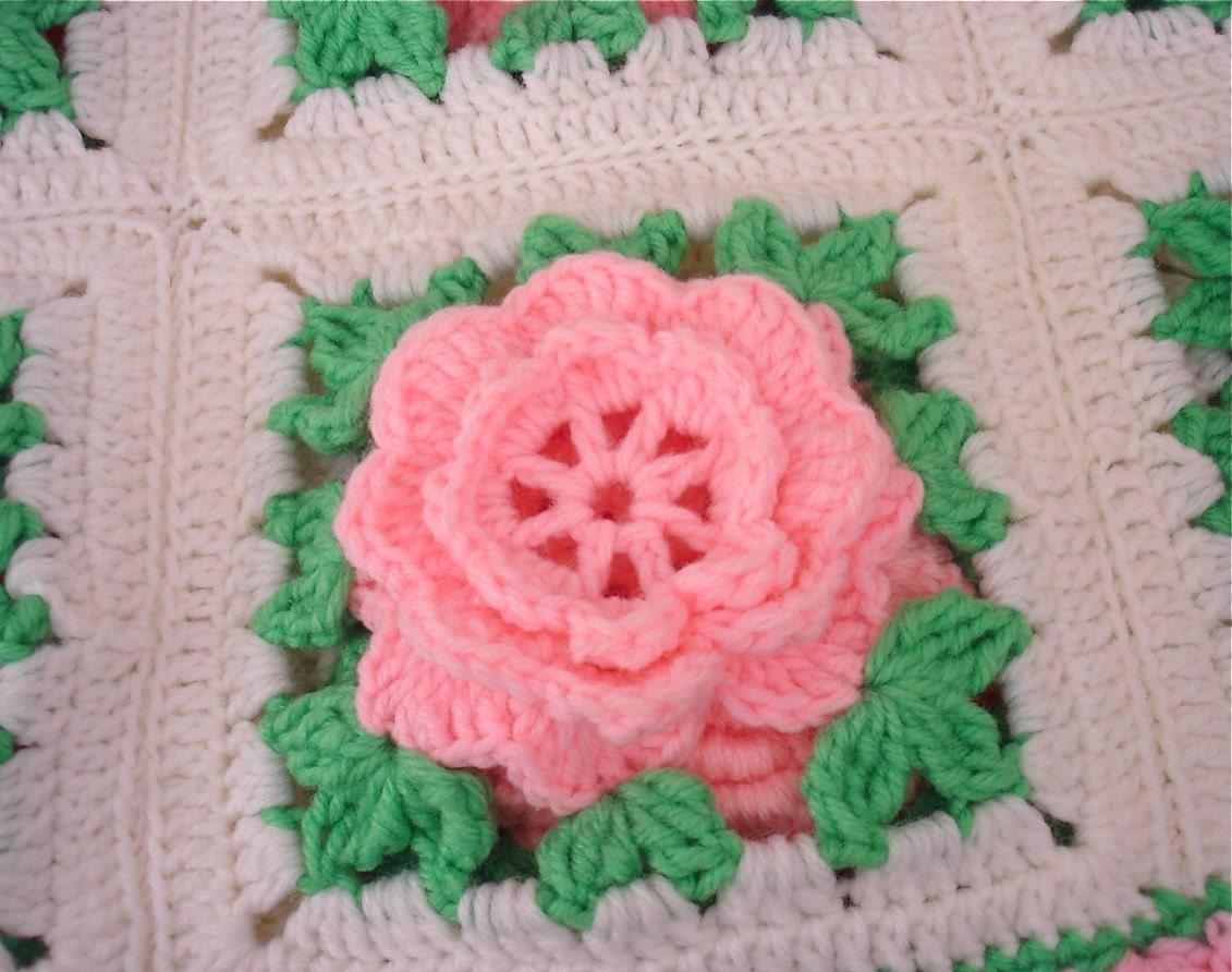 Crochet Rose Afghan Pattern : Crochete Pink Roses One of a Kind Crocheted Rose Afghan