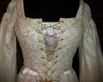 Custom  Made Renaissance Celtic Fairy Queen 3pc corset wedding dress gown