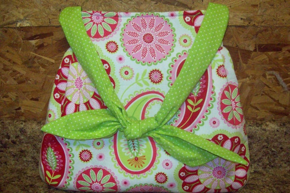 Michael MIller Gypsy Bandana in pink and green fabric  handbag