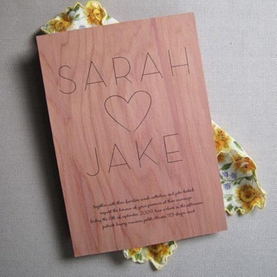 first love wood invitation