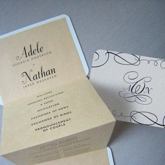 Monogram Pocket Wedding Program