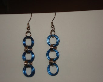 Blue and Silver Chainmaille Earrings