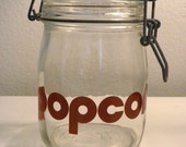 Vintage 70's Glass Popcorn Canister Jar with Awesome Font