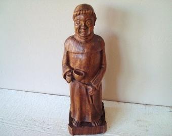 Vintage Hand Carved Wood Monk