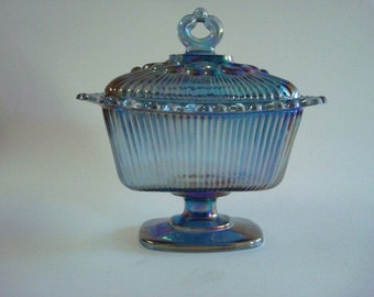 Vintage Carnival Glass Lace Edge Candy Dish
