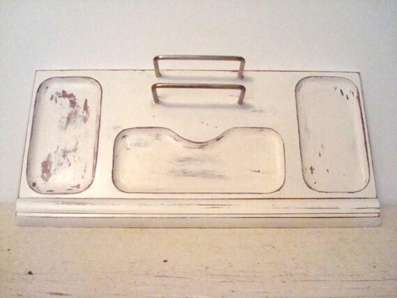 Handpainted distressed jewelry  key  office supplies organizer white shabby chic