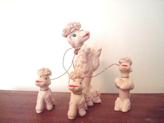 Vintage Pink Poodle with Blue Rhinestone Eyes and 3 Puppies