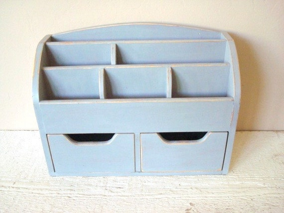 Upcycled Painted and Distressed Desk Organizer - RESERVED FOR JILL