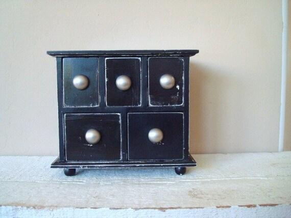 Upcycled Distressed Black Wood Desk Top Storage Cabinet
