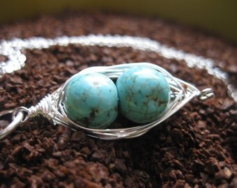 Turquoise Two Peas In A Pod Necklace, Sterling Silver Pea Pod Necklace, Sterling Silver & Turquoise Pea Pod Necklace