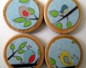 Tree Friends (Birds) Wooden Button Magnet Set - Free Shipping