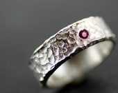 Hammered Sterling Silver Ruby Ring