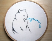 Lazy cat embroidery