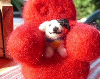 Your doggie in a needle felted arm chair