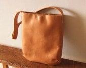 Hand Stitched Simple Leather Messenger / Shoulder Bag - Light Camel Brown -