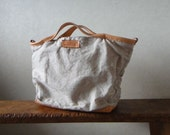 Hand Stitched Simple Linen Combo Leather Large Tote Bag
