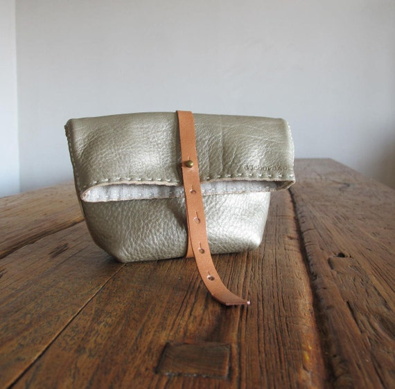 Hand Stitched Simple Leather Clutch - Champagne Gold-