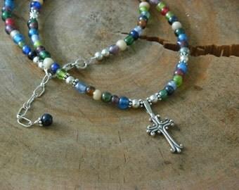 beach glass cross necklace