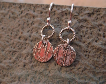 Bamboo Disc Earriings - fine silver (PMC)