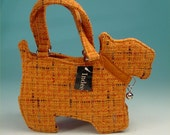Orange tweed Scotty dog purse scottie bag